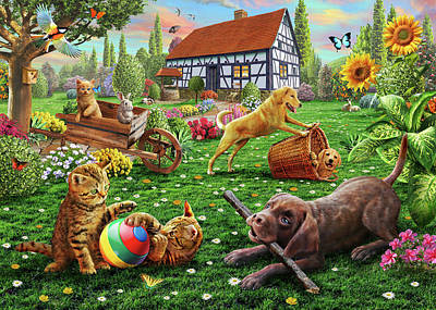 Kittens Drawing - Dogs And Cats At Play by Adrian Chesterman