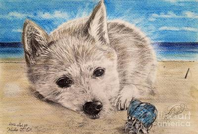Blue Crab Drawing - Dogs And Hermit Crab On The Beach by Keiko Olds