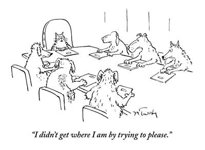 Dog Drawing - Dogs At A Meeting by Mike Twohy