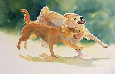 Painting - Dogs At Play by Barbara Tibbets