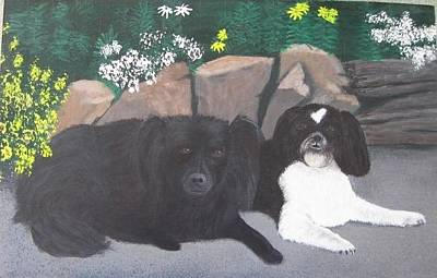 Painting - Dogs Daisy And Buttons by Lorraine Bradford