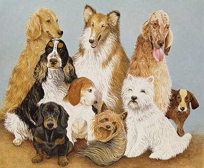 Dogs Dinner  Art Print by Pat Scott
