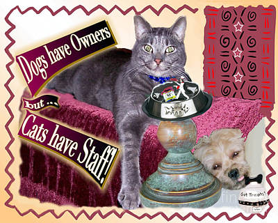 Cats And Dogs Digital Art - Dogs Have Owners - Cats Have Staff by Laurel D Rund
