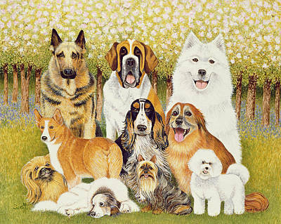 Alsatian Painting - Dogs In May by Pat Scott