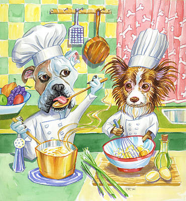 Dogs In The Kitchen Art Print