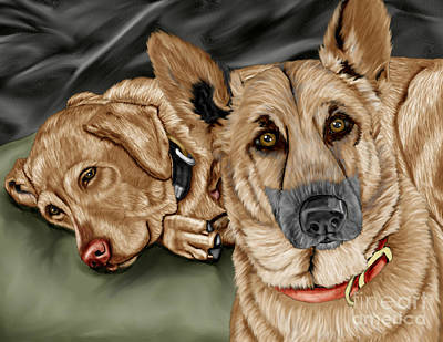 Lab Dog Digital Art - Dogs by Karen Sheltrown