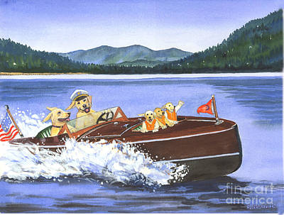 Dog In Lake Painting - Dogs Laughing by Susan Dalby