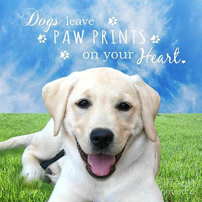 Dogs Leave Paw Prints On Your Heart Art Print by Li Or