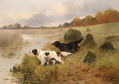 Beautiful Creek Painting - Dogs On The Scent by Mountain Dreams