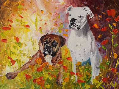 Dogs Painting Fine Art By Ekaterina Chernova Art Print