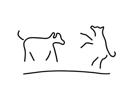 Animals Drawings - Dogs Play Domestic Animal by Lineamentum