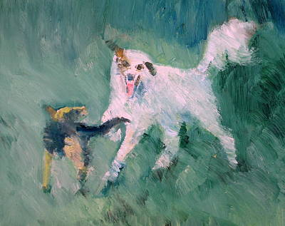 Painting - Dogs Playing by Fabrizio Cassetta