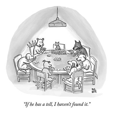 Bluff Drawing - Dogs Playing Poker Refer Angrily To A Cat Who by Paul Noth
