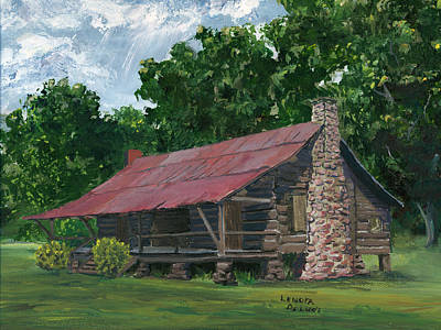 Dog Trots Painting - Dogtrot House In Louisiana by Lenora  De Lude