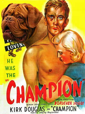 Painting - Dogue De Bordeaux Art Canvas Print - Champion Movie Poster by Sandra Sij
