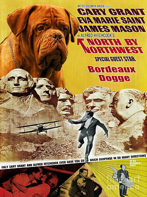Painting - Dogue De Bordeaux Art Canvas Print - North By Northwest Movie Poster by Sandra Sij