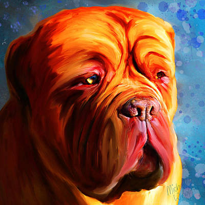 Vibrant Dogue De Bordeaux Painting On Blue Print by Michelle Wrighton