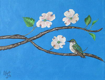 Art Print featuring the painting Dogwood And Hummingbird by Ella Kaye Dickey
