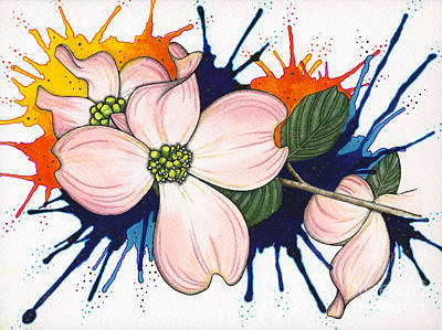 Painting - Dogwood Flowers by Nora Blansett