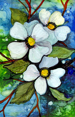 Alcohol Ink Painting - Dogwood On Blue by Elaine Hodges