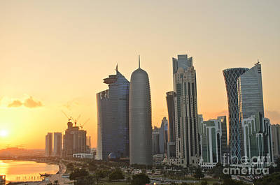 Photograph - Doha Skyline At Sunset by IPics Photography