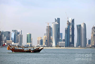 Dhow Photograph - Doha City Skyline 2012 by Paul Cowan