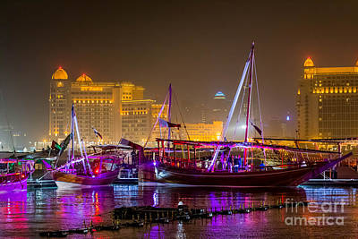 Photograph - Doha Dhow Festival At Night by Paul Cowan