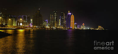 Photograph - Doha Skyline At Night 2014 by Paul Cowan