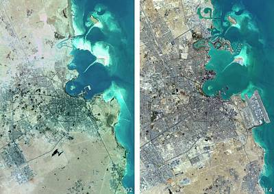 Cartography Photograph - Doha Urban Spread by Planetobserver