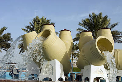 Photograph - Doha Water Pots Fountain by Paul Cowan