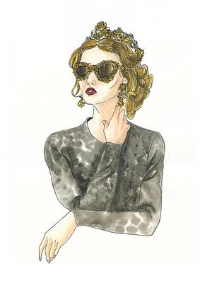 Prints Of Fashion Drawing - Dolce And Gabbana Girl by Ya-Fan Chang
