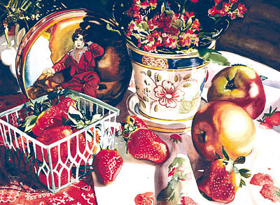 Table Cloth Painting - Dolce Rosa by Judy Koenig