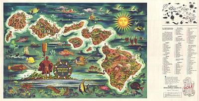 Dole Painting - Dole Hawaii Map by Dole