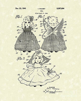 Doll Drawing - Doll 1941 Patent Art by Prior Art Design