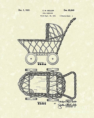 Doll Drawing - Doll Carraige 1931 Patent Art by Prior Art Design