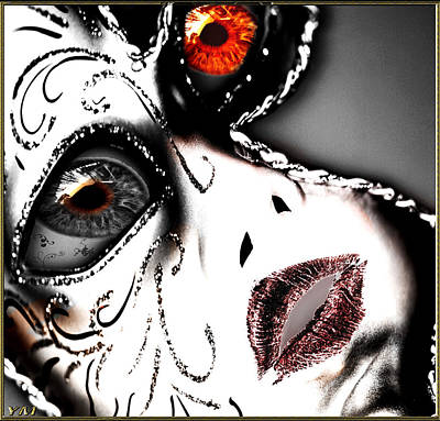 Abtract Digital Art - Doll Face by Yvon van der Wijk