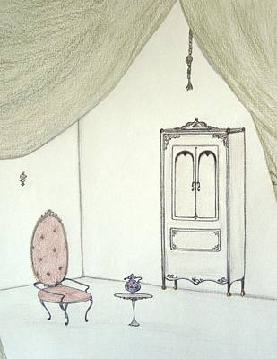 Drawing - Doll House Interior by Christine Corretti