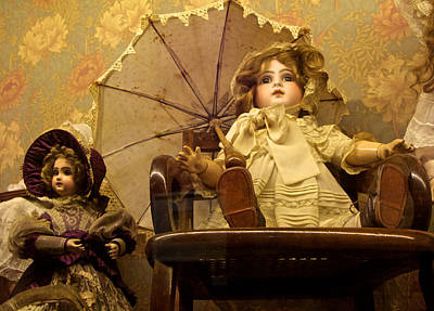 Antique Doll In Chair With Parasol Art Print