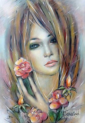 Art Print featuring the painting Doll With Roses 010111 by Selena Boron