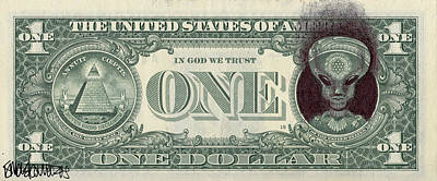 Drawing - Dollar Bill Alien by Ismael Cavazos
