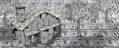 On Paper Photograph - Dollar House With Money Tree by Panoramic Images