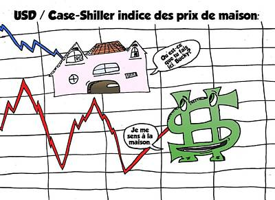Index Mixed Media - Dollar Us Et Case Shiller Indice Immobilier Caricature by OptionsClick BlogArt