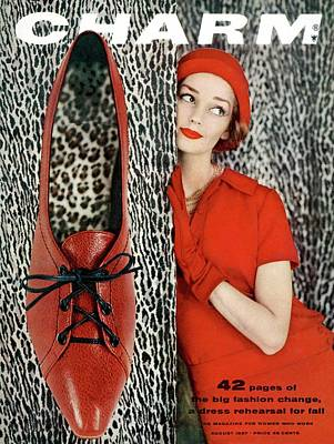 Dolores Hawkins Wears A Dachettes Hat And Red Art Print by Carmen Schiavone