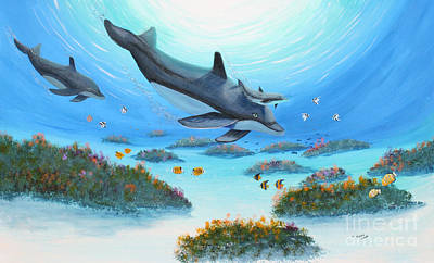 Dolphen Moves Art Print by Myrna Walsh