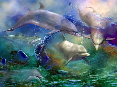 Iridescent Mixed Media - Dolphin Dream by Carol Cavalaris