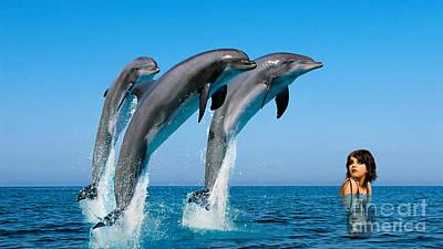 Dolphin Mixed Media - Dolphin Dreams by Marvin Blaine