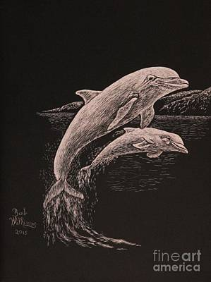 Painting - Dolphin Dynamic Duo by Bob Williams