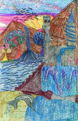 Childrens Art Drawing - Dolphin In Mushroom Castle Land by Kd Neeley