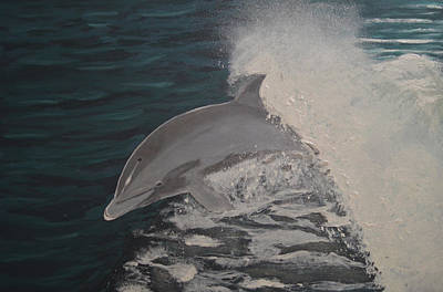 Dolphin In The Wake Art Print