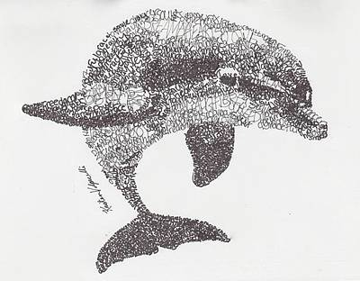 Best Sellers - Animals Drawings - Dolphin by Michael Volpicelli